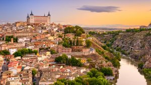 Toledo, Spain old city over the Tagus River.