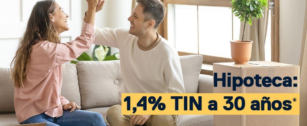 Hipoteca: 1,4% TIN a 30 años