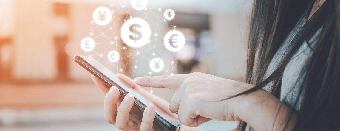 Close up image hand using mobile phone with online transaction application, Concept financial technology (fintech) and ICO Initial coin offering business financial internet innovation technology